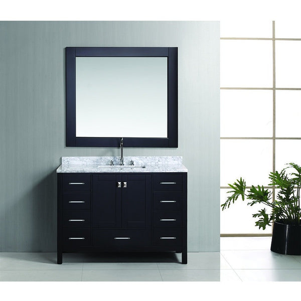 "Design Element 48"" London Hyde Single Sink Vanity Set in White or Espresso - DEC082C - Bath Vanity Plus"