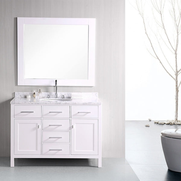 "Design Element 48"" London Stanmark Single Sink Vanity Set in White, Gray or Espresso - DEC076C - Bath Vanity Plus"