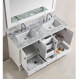 "Design Element 60"" London Hyde Double Sink Vanity Set in White, Espresso or Gray - DEC082A - Bath Vanity Plus"