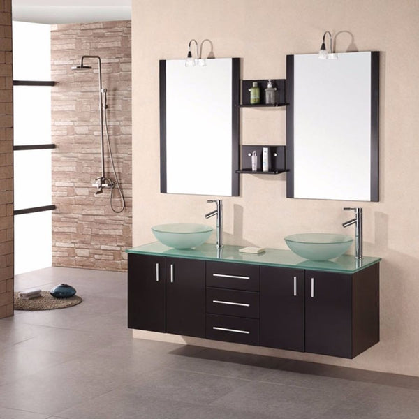 "Design Element 60"" Portland Double Wall Mount Vanity Set with Mirror - DEC005 - Bath Vanity Plus"