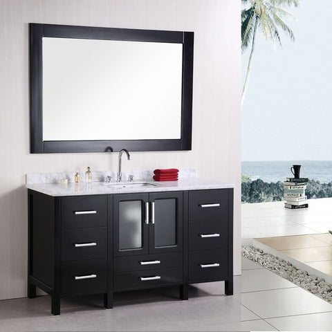 "Design Element 60"" Stanton Single Sink Vanity Set with Mirror - B60-DS - Bath Vanity Plus"