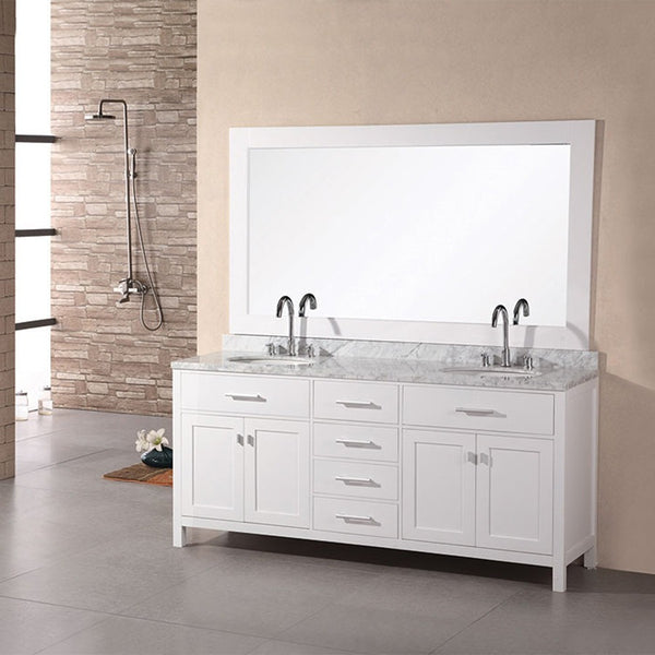 "Design Element 61"" London Stanmark Double Sink Vanity Set in White or Espresso - DEC076A - Bath Vanity Plus"