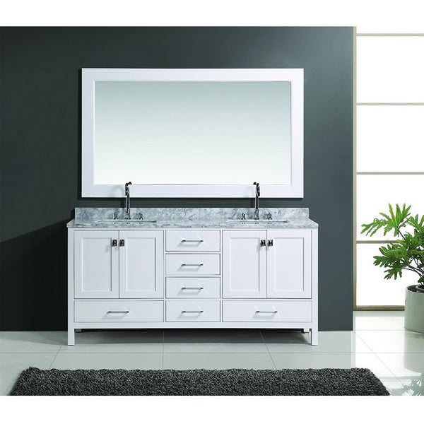 "Design Element 72"" London Hyde Double Sink Vanity Set in White or Espresso - DEC082B - Bath Vanity Plus"