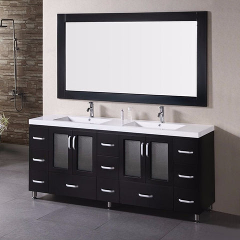 "Design Element 72"" Stanton Double Sink Vanity Set - B72-DS - Bath Vanity Plus"