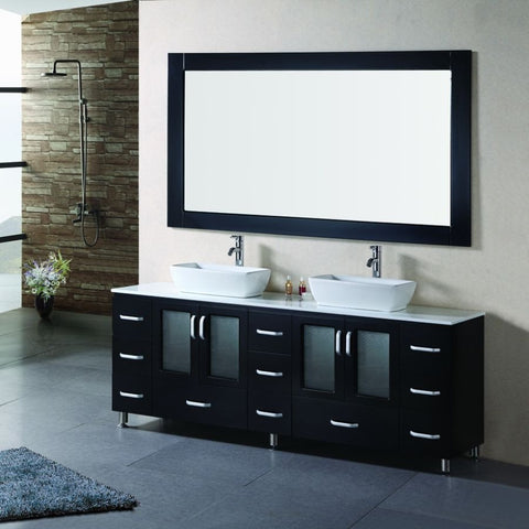 "Design Element 72"" Stanton Double Vessel Sink Vanity Set - B72-VS - Bath Vanity Plus"