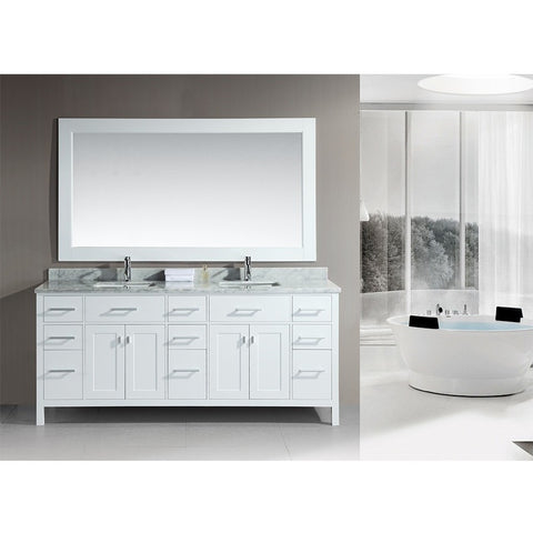 "Design Element 78"" London Stanmark Double Sink Vanity Set in White or Espresso - DEC088 - Bath Vanity Plus"