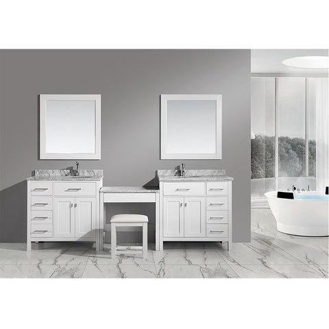"Design Element London 102"" Modular Double Vanity Set with Mirrors & Make-Up Table - DEC076D-W_DEC076D-L-W_MUT-W - Bath Vanity Plus"