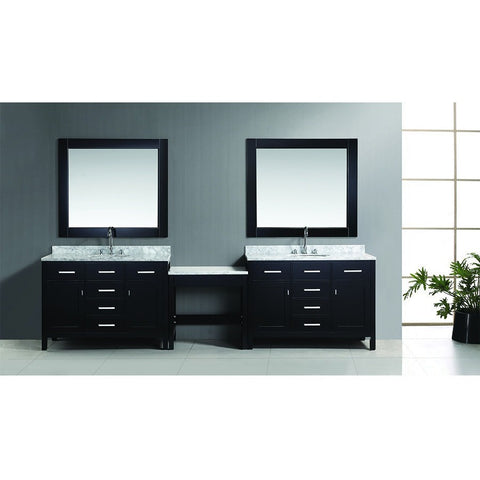 "Design Element London 126"" Modular Double Vanity Set with Mirrors & Make-Up Table - DEC076CX2_MUT - Bath Vanity Plus"