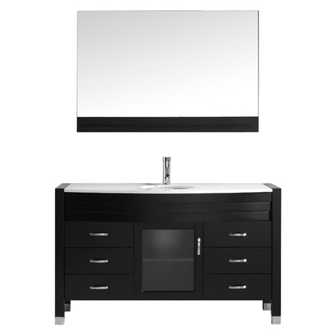 "Virtu USA Ava 55"" Single Bathroom Vanity w/ Stone Top, Sink, Faucet, Mirror"