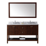 "Virtu USA Winterfell 60"" Double Bathroom Vanity w/ Square Sink, Mirror"