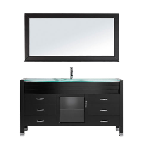 "Virtu USA Ava 61"" Single Bathroom Vanity w/ Aqua Glass Top, Sink, Faucet, Mirror"