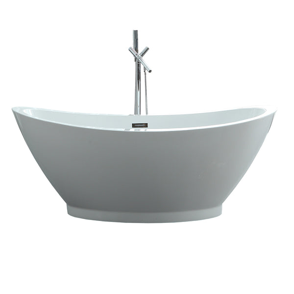 "Virtu USA Serenity 69"" x 33.5"" Bathroom Freestanding Acrylic Soaking Bathtub"