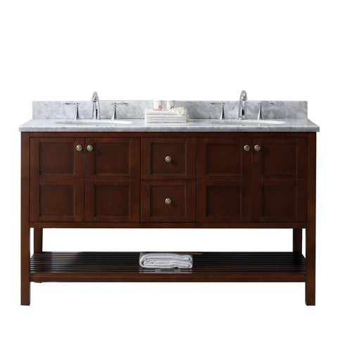 "Virtu USA Winterfell 60"" Double Bathroom Vanity w/ Sink, Chrome Faucet, Mirror"