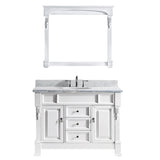 "Virtu USA Huntshire 48"" Single Bathroom Vanity w/ Marble Top, Round Sink, Mirror"