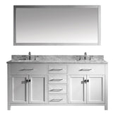 "Virtu USA Caroline 72"" Double Bathroom Vanity w/ Square Sink, Faucet, Mirror"