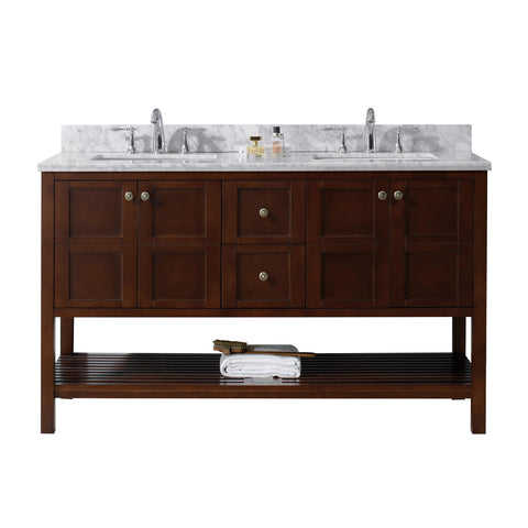 "Virtu USA Winterfell 60"" Double Bathroom Vanity with Marble Top and Square Sink"
