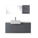 "Virtu USA Hazel 55"" Single Bathroom Vanity w/ Sink, Chrome Faucet, Mirror"
