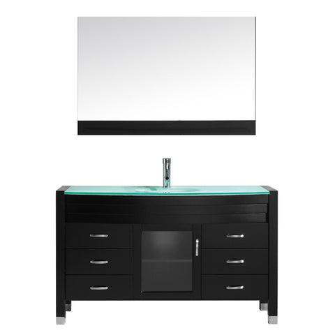 "Virtu USA Ava 55"" Single Bathroom Vanity w/ Aqua Glass Top, Sink, Faucet, Mirror"