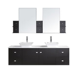 "Virtu USA Clarissa 72"" Double Bathroom Vanity w/ Stone Top, Sink, Faucet, Mirror"