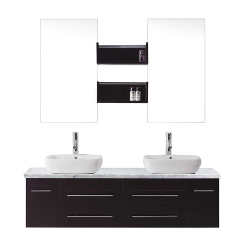 "Virtu USA Augustine 59"" Double Bathroom Vanity w/ Square Sink, Faucet, Mirror"
