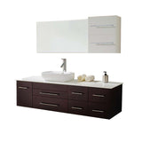 "Virtu USA Justine 59"" Single Bathroom Vanity w/ Stone Top, Sink, Faucet, Mirror"