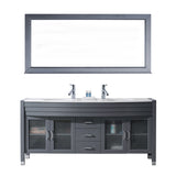 "Virtu USA Ava 71"" Double Bathroom Vanity w/ Stone Top, Sink, Faucet, Mirror"