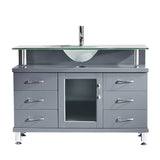 "Virtu USA Vincente 48"" Single Bathroom Vanity w/ Frosted Glass Top, Round Sink"