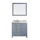 "Virtu USA Caroline Avenue 36"" Single Bathroom Vanity w/ Sink, Faucet, Mirror"