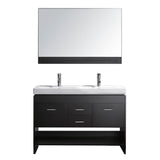 "Virtu USA Gloria 48"" Double Bathroom Vanity w/ Sink, Chrome Faucet, Mirror"