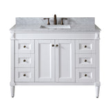"Virtu USA Tiffany 48"" Single Bathroom Vanity with Marble Top and Square Sink"