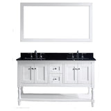 "Virtu USA Julianna 60"" Double Bathroom Vanity w/ Black Granite Top, Sink, Mirror"