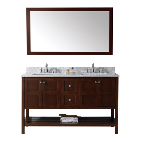"Virtu USA Winterfell 60"" Double Bathroom Vanity w/ Square Sink, Faucet, Mirror"