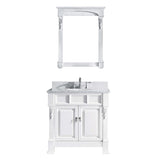 "Virtu USA Huntshire 36"" Single Bathroom Vanity w/ Marble Top, Round Sink, Mirror"