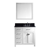"Virtu USA Caroline Parkway 36"" Single Bathroom Vanity w/ Sink, Faucet, Mirror"