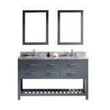 "Virtu USA Caroline Estate 60"" Double Bathroom Vanity w/ Round Sink, Mirror"