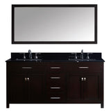 "Virtu USA Caroline 72"" Double Bathroom Vanity w/ Black Granite Top, Sink, Mirror"