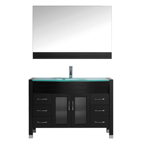 "Virtu USA Ava 48"" Single Bathroom Vanity w/ Aqua Glass Top, Sink, Faucet, Mirror"