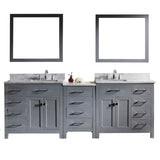 "Virtu USA Caroline Parkway 93"" Double Bathroom Vanity w/ Sink, Faucet, Mirror"