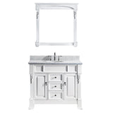 "Virtu USA Huntshire 40"" Single Bathroom Vanity w/ Marble Top, Round Sink, Mirror"
