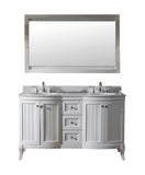 "Virtu USA Khaleesi 60"" Double Bathroom Vanity w/ Sink, Chrome Faucet, Mirror"