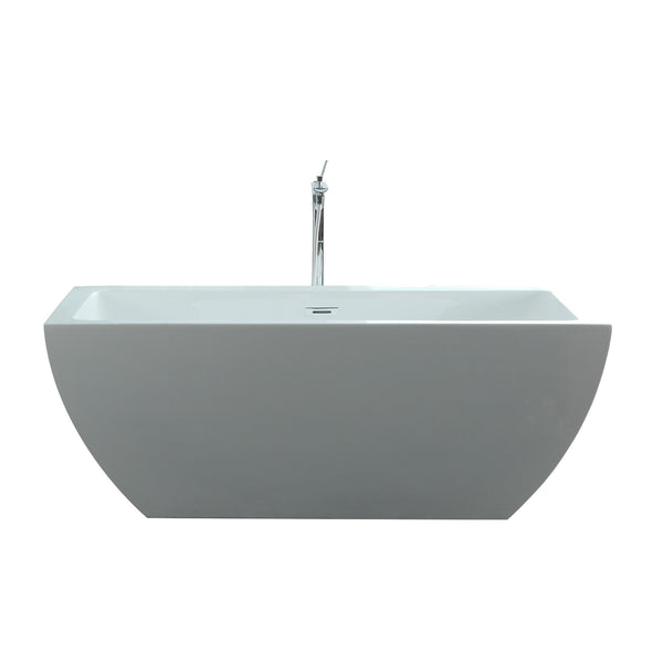"Virtu USA Serenity 59"" x 29.5"" Bathroom Freestanding Acrylic Soaking Bathtub"