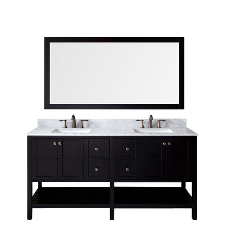 "Virtu USA Winterfell 72"" Double Bathroom Vanity w/ Sink, Chrome Faucet, Mirror"