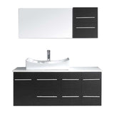 "Virtu USA Ceanna 55"" Single Bathroom Vanity w/ Stone Top, Sink, Faucet, Mirror"