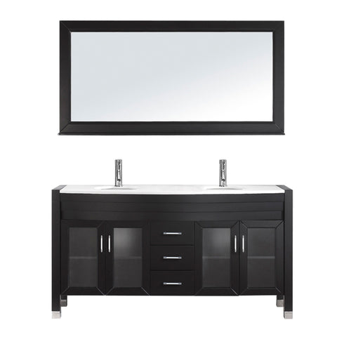 "Virtu USA Ava 63"" Double Bathroom Vanity w/ Stone Top, Sink, Faucet, Mirror"