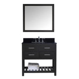 "Virtu USA Caroline Estate 36"" Single Bathroom Vanity w/ Sink, Faucet, Mirror"
