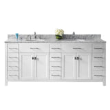 "Virtu USA Caroline Parkway 78"" Double Bathroom Vanity w/ Marble Top, Round Sink"