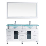 "Virtu USA Vincente Rocco 59"" Double Bathroom Vanity w/ Sink, Faucet, Mirror"