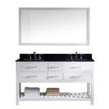 "Virtu USA Caroline Estate 60"" Double Bathroom Vanity w/ Sink, Mirror"