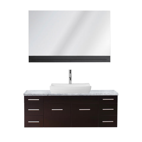 "Virtu USA Biagio 55"" Single Bathroom Vanity w/ Odd Sink, Nickel Faucet, Mirror"
