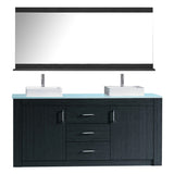 "Virtu USA Tavian 72"" Double Bathroom Vanity w/ Glass Top, Sink, Faucet, Mirror"